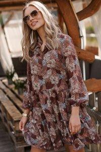 Sukienka z falbankami w kwieciste wzory w.28 M585