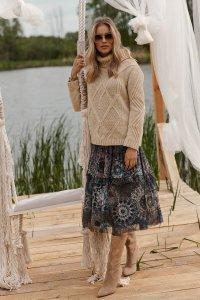 Spódnica tiulowa midi w kwiecisty print w.34 M611