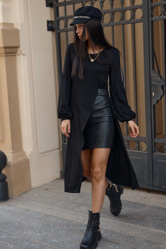 Sukienka wiskozowa z elementami ekoskóry czarna NU376