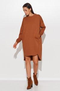 Dresowa sukienka oversize karmelowa NU270