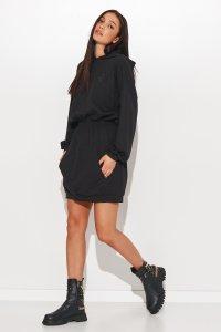 Sukienka a'la bluza kangurka ze ściągaczem w talii czarna NU374