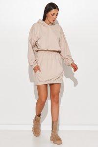 Sukienka a'la bluza kangurka ze ściągaczem w talii jasny beż NU374