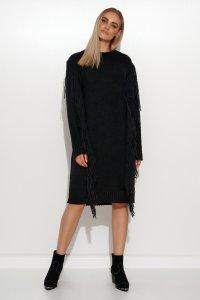 Długi sweter z frędzlami czarny S115