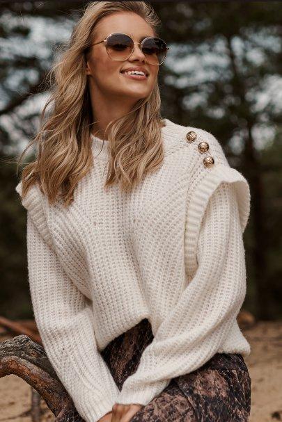 Sweter damski z falbanką i...