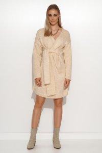 Moherowy sweter damski z wiązaniem jasny beż S124