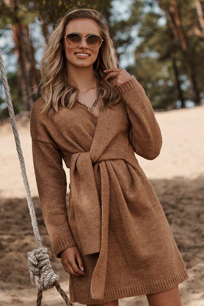 Moherowy sweter damski z wiązaniem ochra S124