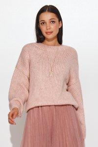 Klasyczny sweter damski wkładany przez głowę brudny róż NU_S81
