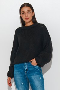 Klasyczny sweter damski wkładany przez głowę czarny NU_S81