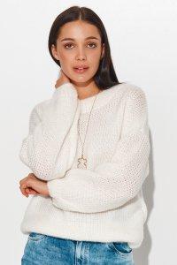 Klasyczny sweter damski wkładany przez głowę ecru NU_S81