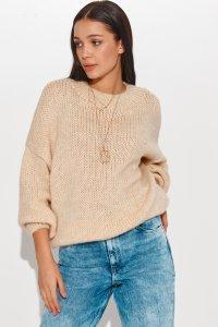 Klasyczny sweter damski wkładany przez głowę jasny beż NU_S81