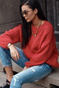Klasyczny sweter damski wkładany przez głowę malinowy NU_S81