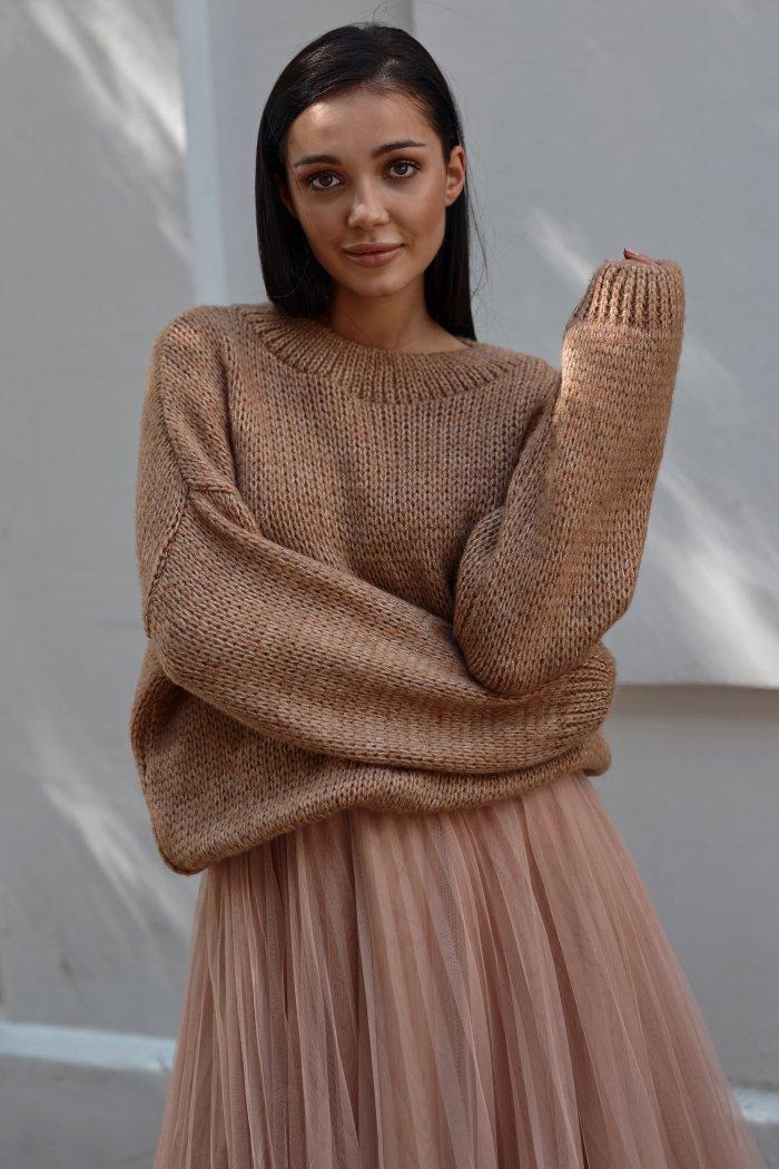 Klasyczny sweter damski wkładany przez głowę ochra NU_S81