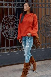 Klasyczny sweter damski wkładany przez głowę oranż NU_S81