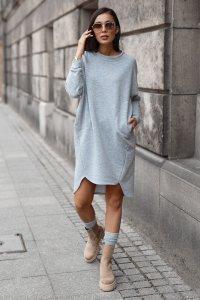 Dresowa sukienka oversize szary melanż NU270