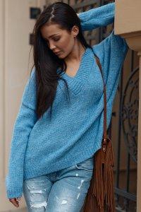 Luźny sweter damski z dekoltem w serek blue jeans NU_S82