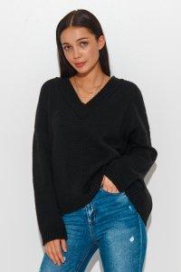 Luźny sweter damski z dekoltem w serek czarny NU_S82