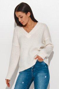 Luźny sweter damski z dekoltem w serek ecru NU_S82