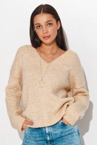 Luźny sweter damski z dekoltem w serek jasny beż NU_S82