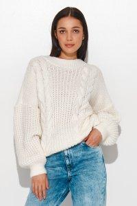 Sweter damski wkładany przez głowę ecru NU_S84