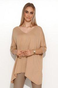 Asymetryczna bluzka damska onesize beżowa M704