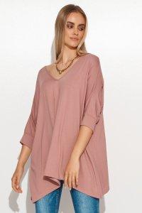 Asymetryczna bluzka damska onesize brudny róż M704