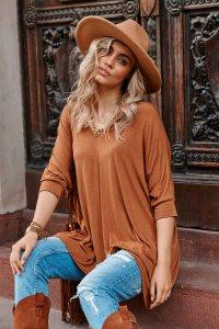 Asymetryczna bluzka damska onesize camelowa M704