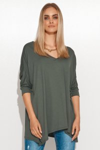 Asymetryczna bluzka damska onesize khaki M704