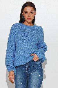 Klasyczny sweter damski wkładany przez głowę blue jeans NU_S81