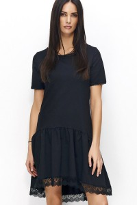 Sukienka czarna z koronką NU75