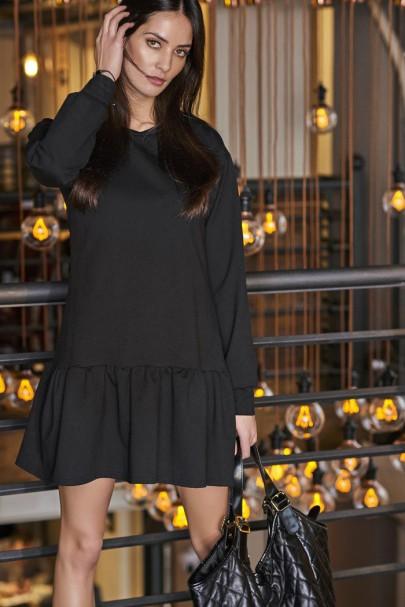 Sukienka czarna z falbaną NU61