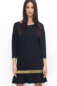 Sukienka czarna ze złotą taśmą NU71