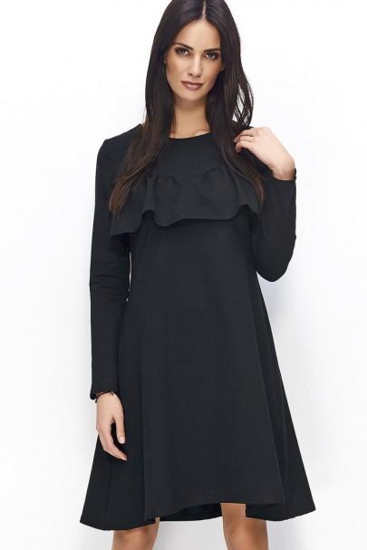 Sukienka czarna trapezowa NU66