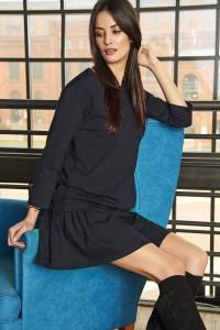 Komplet czarny bluza + spódnica NU62