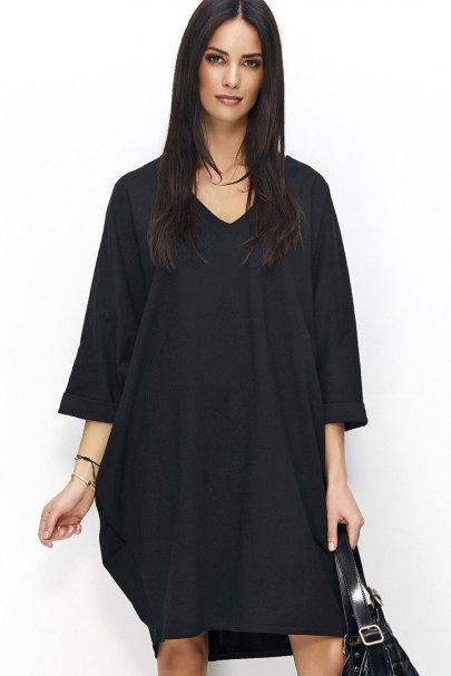 Sukienka czarna oversize NU77