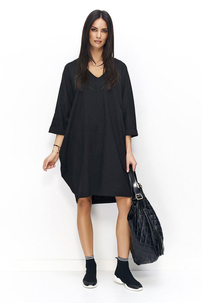 Sukienka oversize z dekoltem w serek czarna NU77