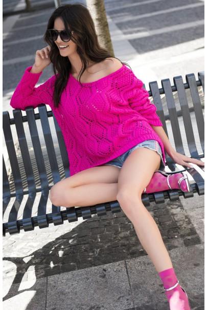 Sweter ażurowy amarantowy...