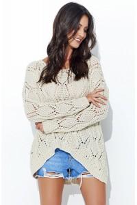 Sweter ażurowy beżowy NU_S31