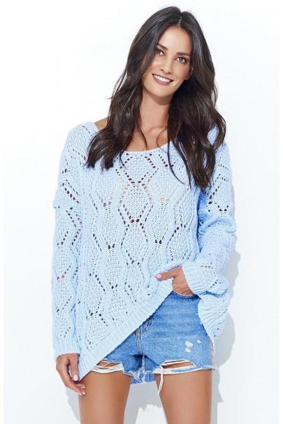 Sweter ażurowy błękitny...