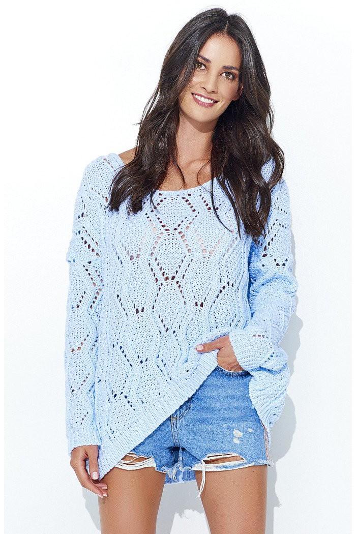 Sweter ażurowy błękitny  NU_S31