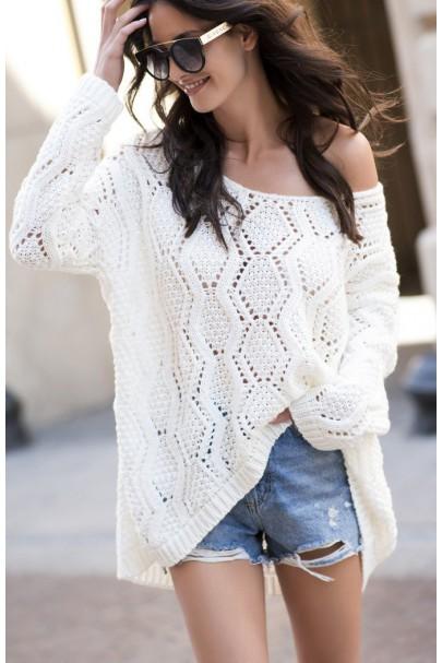 Sweter ażurowy  ecru NU_S31