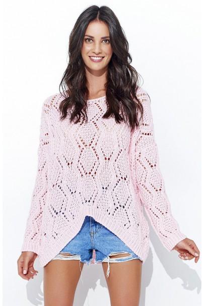 Sweter ażurowy pudrowy róż...