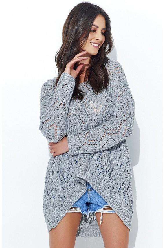 Sweter ażurowy szary NU_S31