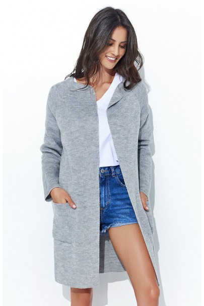 Sweter kardigan szary NU_S32