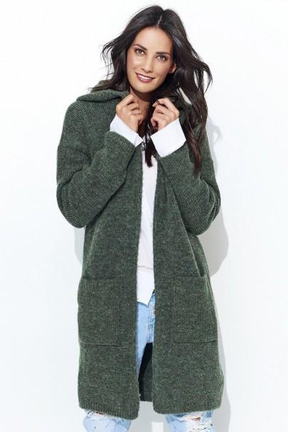Sweter khaki z kapturem NU_S34
