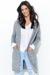 Sweter szary z kapturem NU_S34