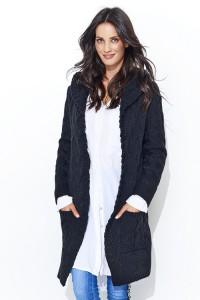 Sweter czarny z kapturem NU_S36