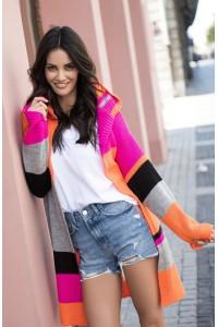 Sweter pomarańcz-fuksja NU_S33