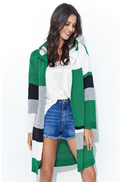 Sweter zielony-ecru NU_S33