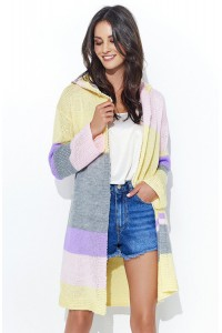 Sweter żółto-pudrowy z kapturemNU_S33