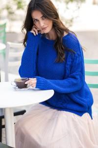 Sweter chabrowy z warkoczami NU_S38
